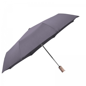 2020 Hot sale high quality custom pongee fabric 3fold umbrella promotional rain umbrella dark gray