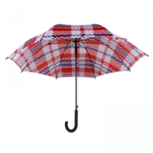 27 Inch Automatic Opening Chinese Style Red and Blue Printed Fiberglass Windproof Frame Straight Umbrella