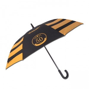 Advertising Promition Straight Windproof Fiberglass Frame Rubber J Handle Stick Umbrella