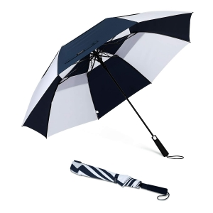 Amazon Hot Sale Custom 27inch big size black and white 2 fold rain umbrella with Logo Printing