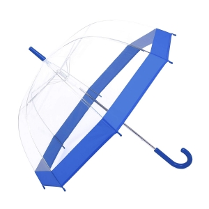 Amazon hot sell Promotional clear auto open transparent bubble straight umbrella with blue color border
