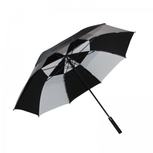 China Factory 60 Inch Alternating Two-tier Golf Umbrella with Custom Printed LOGO