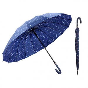 Classic Navy Blue 50 Inches Polka Dot Print 16 Ribs Automatic Open Windproof Waterproof J Handle Stick Umbrella
