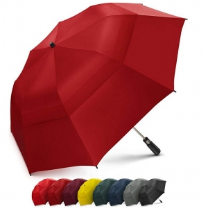 Customized Automatic Open Strong Waterproof Double Canopy 2 Folding Golf Rain Umbrellas