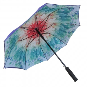 Double layer flower print high quality stick umbrella