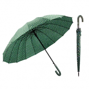 Factory J handle large Polka Dot 16 Ribs Quick-drying Automatic Open Windproof Waterproof Stick Umbrellas