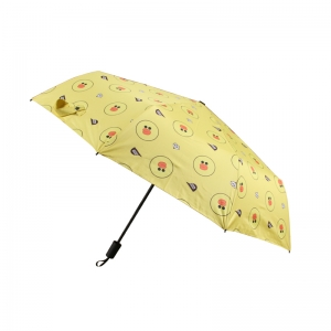 Factory Supplier Yellow Cute Duck Animal Print Manual Compact Foldable Rain Umbrella with UV Protection