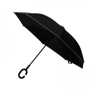 High Quality Custom Windproof Double Layer Inside Out Reverse Inverted Black Umbrella with reflective border