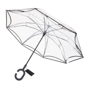 High Quality Double Layer Inverted Cars Rain Outdoor POE Reverse Umbrella  with C-Shaped Handle
