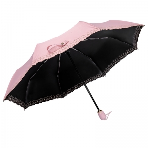 High quality Custom auto open 3 folding auto umbrella with logo print for promotion OEM pink
