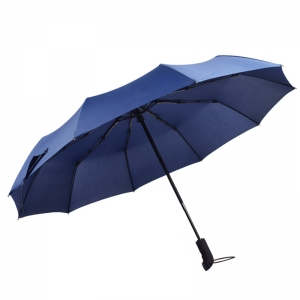 High quality custom pongee fabric 3fold umbrella promotional rain umbrella blue