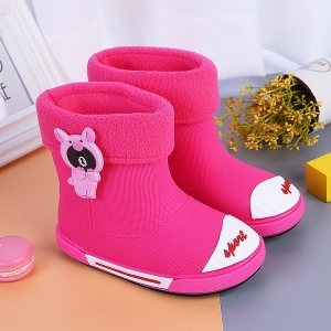 PVC rain boots shoes Waterproof winter boys and girls snow boot velvet warm non-slip shoes for Kids