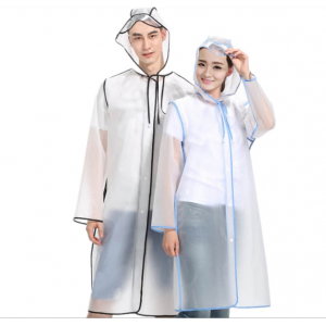Promotional Adult both sexes transparent raincoat durable polyethylene custom raincoat EVA rain wear
