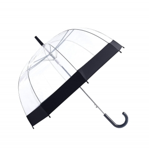 Promotional hot selling clear auto open transparent bubble straight umbrella with colored border