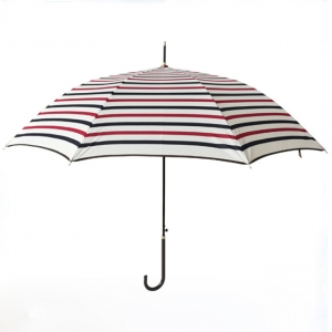 Stripe Print Light Straight Lady Umbrella With Long PU Handle