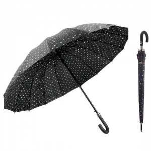 Top Quality large Polka Dot Print 16 Ribs Quick-drying Automatic Open Windproof Waterproof Stick Umbrellas with J Handle