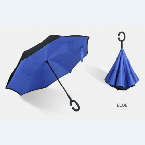 Wholesale  Double Layers Windproof Double Layers C Handle Car Inverted Reverse Umbrella