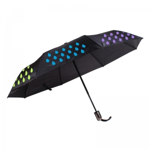 Wholesale Foldable Automatic Color Changing When Wet Windproof 3 Fold Magic Umbrella