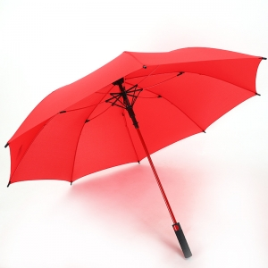 Wholesale Straight auto umbrella Logo Printed 8rib windproof straight umbrella red