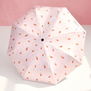 Wholesale auto 3 folding umbrella pongee rain UV Umbrella pink OEM