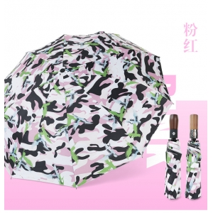 Wholesale auto 3 folding umbrella pongee rain UV Umbrella pink