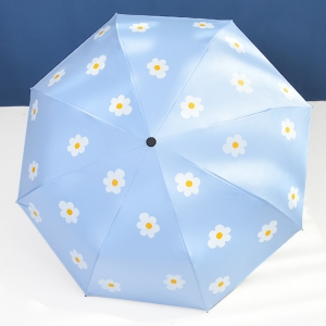 Wholesale auto 3 folding umbrella pongee rain UV Umbrella sky blue OEM