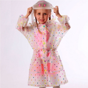 Wholesale high quality new design Transparent Kids Safety Rainbow point Raincoat
