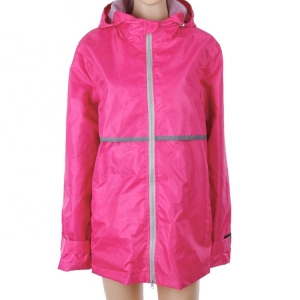 Wholesale high quality waterproof Watermelon red color worker Manufacturer's Ladies Full Zip Hooded Rain Coat