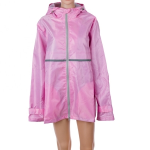 Wholesale high quality waterproof colorful worker Manufacturer's Ladies Full Zip Hooded Rain Coat