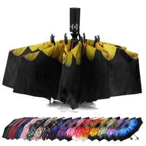 Wholesale upside down windproof Sunflower Print Inside automatic 3 folding reverse umbrella with Black UV Coating