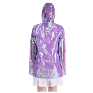 Wholesales fashion design metallic women holographic rain coat and color rain coat