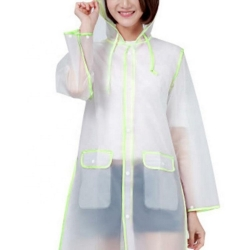 China Amazon Top Seller  Wholesale Clear Transparent Plastic PVC Handbag Women Raincoat Jacket Poncho Waterproof green Rain coat-Fabrik