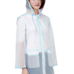 China Amazon Top Seller  Wholesale Clear Transparent Plastic PVC Handbag Women Raincoat Jacket Poncho Waterproof blue  Rain coat-Fabrik