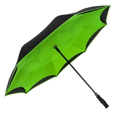 China Customized color double canopy inverted umbrella reverse car umbrella with long easy gripped handle factory