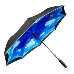 China Customized logo printing inside double layers fabric reverse car umbrella with straight handle factory
