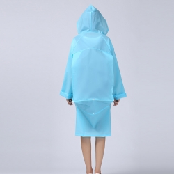 China Fashion EVA Men And Women Poncho Jacket With Hood Ladies Waterproof Long Translucent Raincoat Adults Outdoor blue  Rain Coat-Fabrik