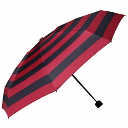 China Good quality manual red and black stripe 3 folding umbrella portable for pocket factory