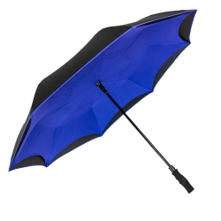 China Most popular reverse umbrella rubber coated long handle upside down umbrella with shoulder bag factory