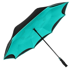 China Wholesale double canopy inverted umbrella reverse car umbrella with long easy gripped handle factory