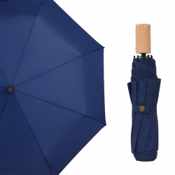 China custom pongee fabric 3fold umbrella promotional rain umbrella wooden handle high quality factory