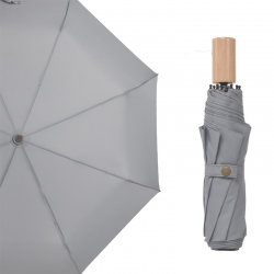 China custom pongee fabric 3fold umbrella promotional rain umbrella wooden handle wholesale-Fabrik
