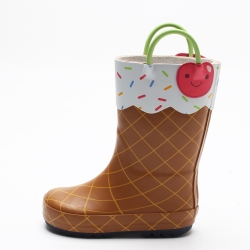 China new High quality custom cute printing fashion girls rubber boots wholesale factory